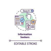 ícone do conceito de buscadores de informações vetor