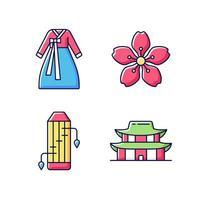 conjunto de ícones de cores rgb de símbolos étnicos coreanos vetor