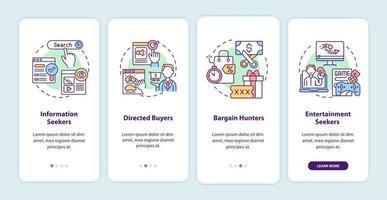 Comportamento do consumidor da Internet na tela da página do aplicativo móvel com conceitos vetor