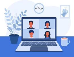 vídeo-conferência vídeo-comunicação online com colegas, amigos e alunos em uma casa ou ambiente de escritório, trabalho remoto, tela do laptop de treinamento com quatro pessoas ilustração vetorial no plano vetor