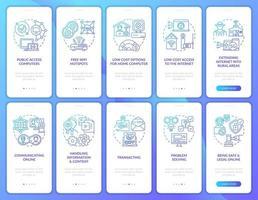 tela da página do aplicativo móvel da marinha de inclusão digital com o conjunto de conceitos vetor