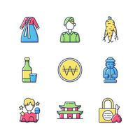 conjunto de ícones de cores rgb da cultura da coreia vetor