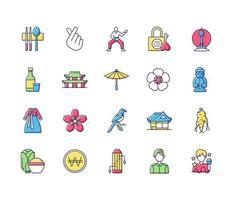 conjunto de ícones de cores rgb da coreia vetor