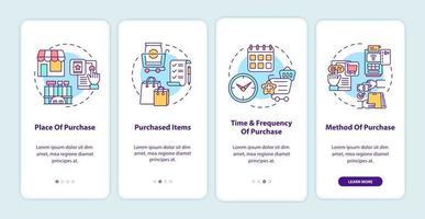 padrões de comportamento do cliente na tela da página do aplicativo móvel com conceitos vetor
