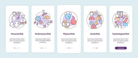 comprar fatores de risco integrando a tela da página do aplicativo móvel com conceitos vetor