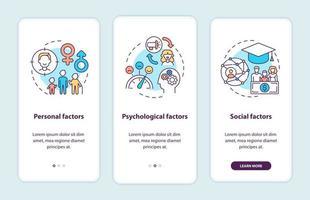 Fatores de decisão de compra que integram a tela da página do aplicativo móvel com conceitos vetor
