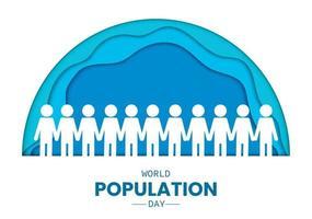 Dia da população mundial pessoas meio círculo papel vetor