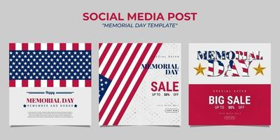 design de modelo de postagem de mídia social do dia do memorial vetor