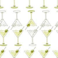 padrão sem emenda de copos de martini com azeitona vetor