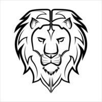 arte de linha em preto e branco da frente da cabeça do leão é o sinal do zodíaco leo bom uso para símbolo mascote ícone avatar tatuagem t shirt design logotipo ou qualquer design vetor