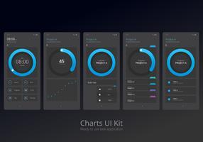 Conjunto de elementos móveis do Kit de UI de gráficos vetor