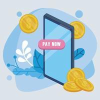 tecnologia de pagamento online com smartphone e moedas de dólares vetor