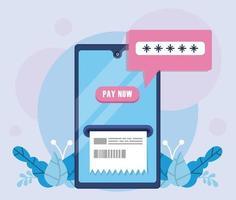 tecnologia de pagamento online com smartphone e recibo vetor