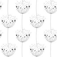 dente-de-leão abstrato no padrão sem emenda de fundo branco vetor