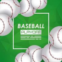 pôster de esporte de beisebol com bolas vetor