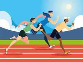executando esportes masculinos na pista de corrida vetor