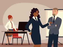 homem de negócios e mulher com secretária trabalhando no escritório vetor