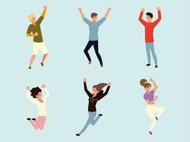 jovens celebrando o conceito de celebração de homens e mulheres vetor