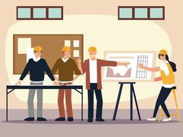 construtores e arquitetos discutem sobre o projeto de construção no escritório vetor