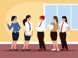 escritório da equipe feminina de negócios com personagens de roupas formais vetor