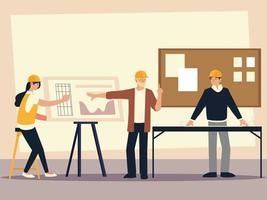 construtores e arquitetos arquitetos femininos e masculinos no escritório com plantas do projeto vetor