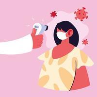 médico mede a temperatura de uma mulher com uma máscara médica prevenção de coronavírus vetor