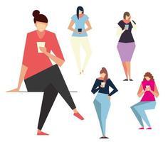 personagens de mulheres jovens usando smartphones, pessoas, dispositivos e gadgets vetor