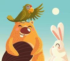castor fofo com papagaio e coelho em desenhos animados de animais vetor