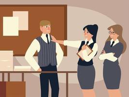 empresário e empresárias no escritório vetor
