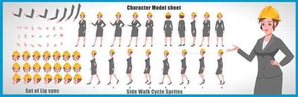 modelo de folha de modelo de personagem de menina de negócios design de personagem de menina frente, verso, animação explicador, poses, conjunto de personagens, com sincronização labial, sequência de animação de todas as sequências de animação do ciclo de caminhada frontal e lateral vetor