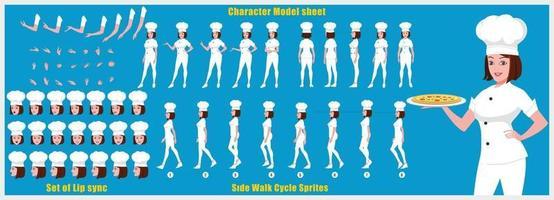 folha de modelo de design de personagem de chef menina design de personagem de menina frente vista traseira e animação explicador posa conjunto de personagens com sequência de animação de sincronização labial de todas as sequências de animação do ciclo de caminhada frontal e lateral vetor