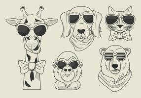 animais engraçados com óculos de sol estilo legal vetor