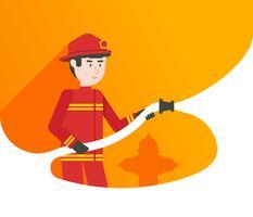 Ilustração em vetor personagem bombeiro