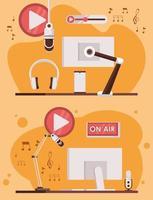 pôster do dia internacional de rádio com monitores computadores vetor