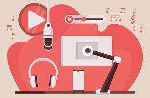 pôster do dia internacional de rádio com monitor de computador vetor