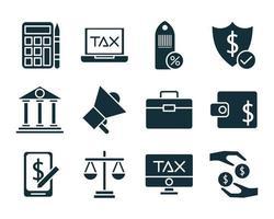pacote de impostos definir ícones de estilo de silhueta vetor