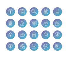 pacote de impostos definir ícones de estilo degradado vetor