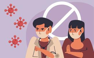evitar a propagação da campanha covid19 com médico e menina vetor