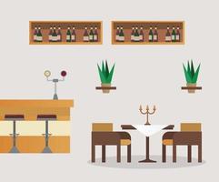 mesa e cadeiras com cena de móveis de bar restaurante vetor