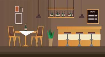 cena de móveis de restaurante bar com mesa e cadeiras vetor