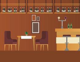 mesa e cadeiras elegantes com cena de móveis de bar e restaurante vetor