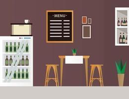 mesa e cadeiras elegantes com garrafas de vinho em cena de móveis de restaurantes vetor