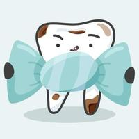 dente doente com doce vetor