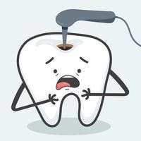 um dente doente é tratado com uma broca para remoção de cárie vetor