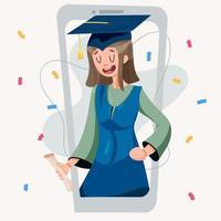 garota se formando em um vestido com um certificado vetor