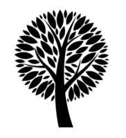 ilustração de ícone de silhueta de árvore negra em vetor abstrato