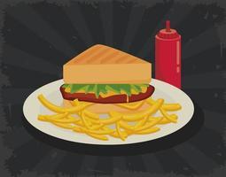 sanduíche e batata frita com ketchup ícone de fast food delicioso vetor