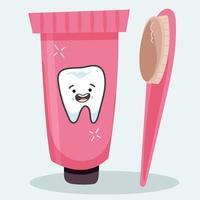 pasta de dente e escova de dente higiene oral vetor