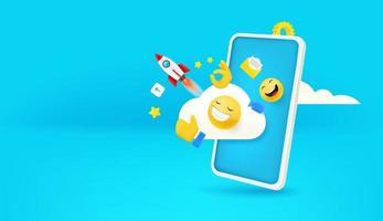 conceito de mídia social com smartphone moderno vetor