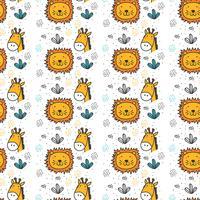 Leão E Girafa Padrão Vector